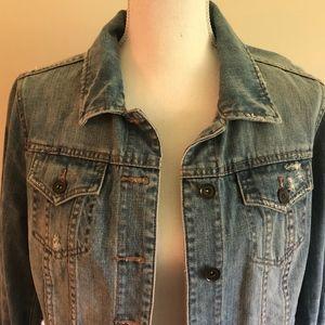 JCP Distressed Denim Jacket Size M